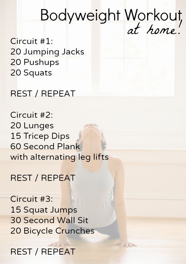 Get a full body workout with this beginner bodyweight home workout you can do in your own living roo...