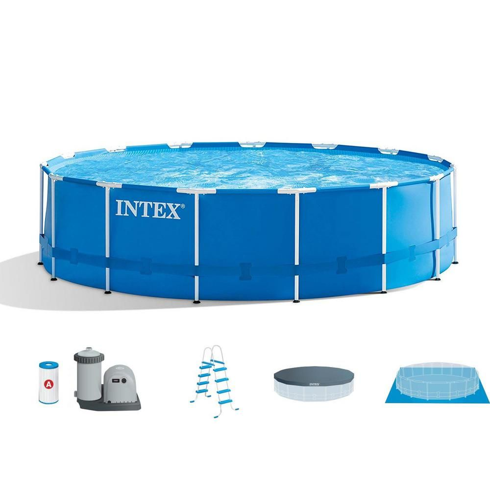 Intex 15 Ft X 48 In Metal Frame Above Ground Swimming Pool Set With Pump Cover Ladder Blue Above Ground Swimming Pools Best Above Ground Pool Above Ground Pool