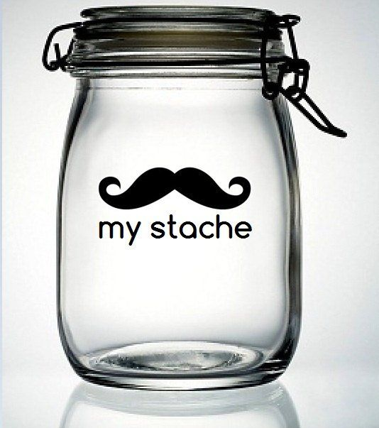 Buy my stache mustache moustache glass money jar piggy bank vinyl decal diy do it yourself fathers day gift birthday party wedding favor at wish