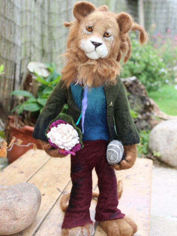 Needle felted OOAK Mr 'Zen' Lion by OkieFolky on Etsy