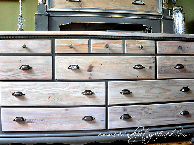 Grey Painted Pine Dresser Makeover With Natural And White Stained