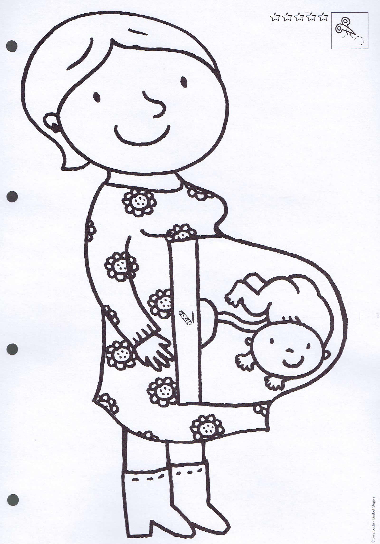 kleurplaat zwangere thema de baby knutselen