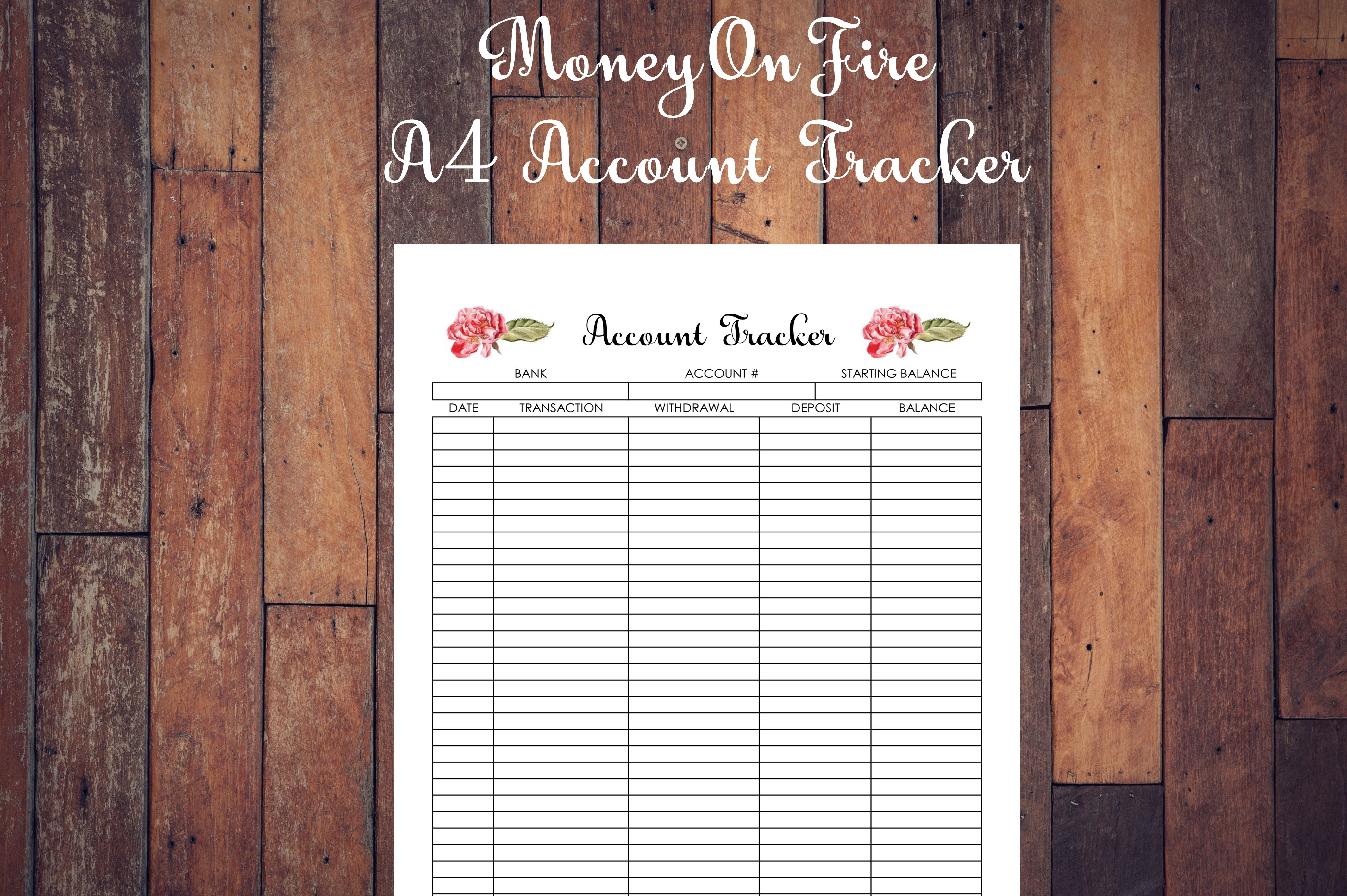 Account Tracker Printable Etsyprint Etsyprintable
