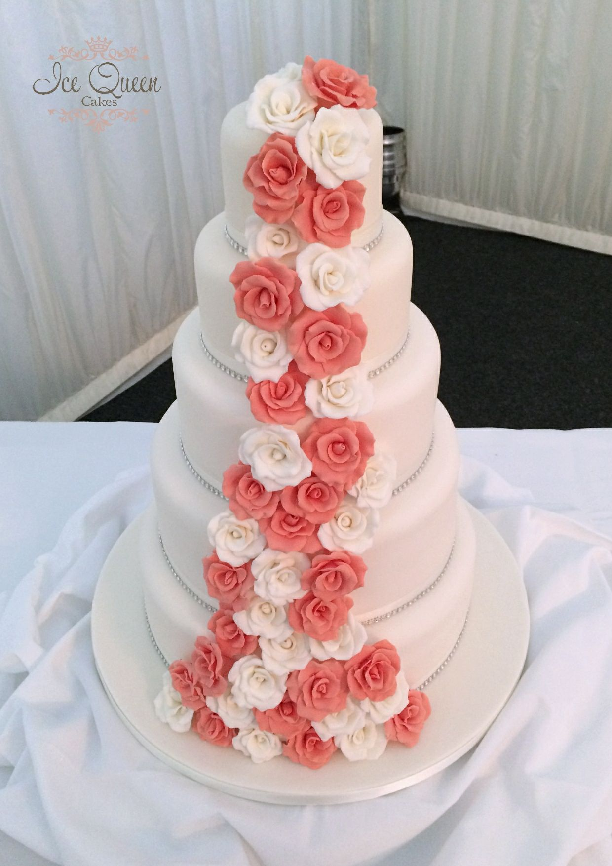 5 tier cascading roses. Coral and ivory www.icequeencakes.co.uk ...