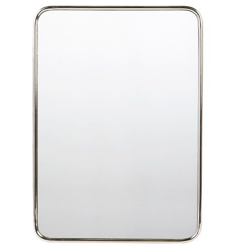 "Chrome Framed Bathroom Mirrors 30"" x 42"" metal framed mirror - rounded rectangle polished chrome"