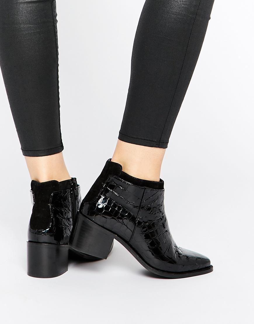 Buy Women Shoes / Faith Siata Black Croc Effect Heeled Boots