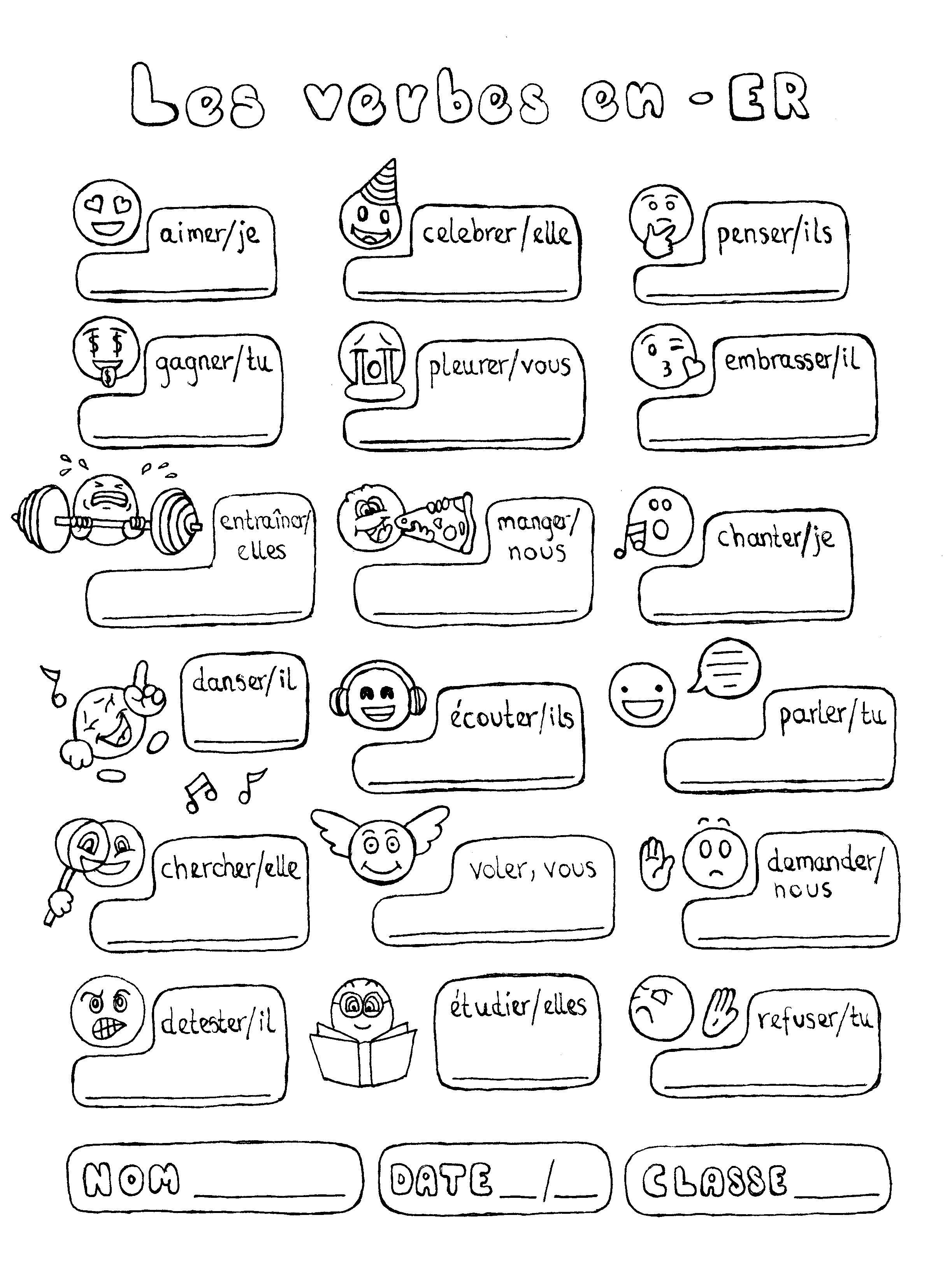 French Er Verbs Conjugation Fun No Prep Worksheet Emojis