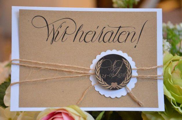 """einladung hochzeit vintage -button """"paula""""   products, vintage and, Einladungen"""