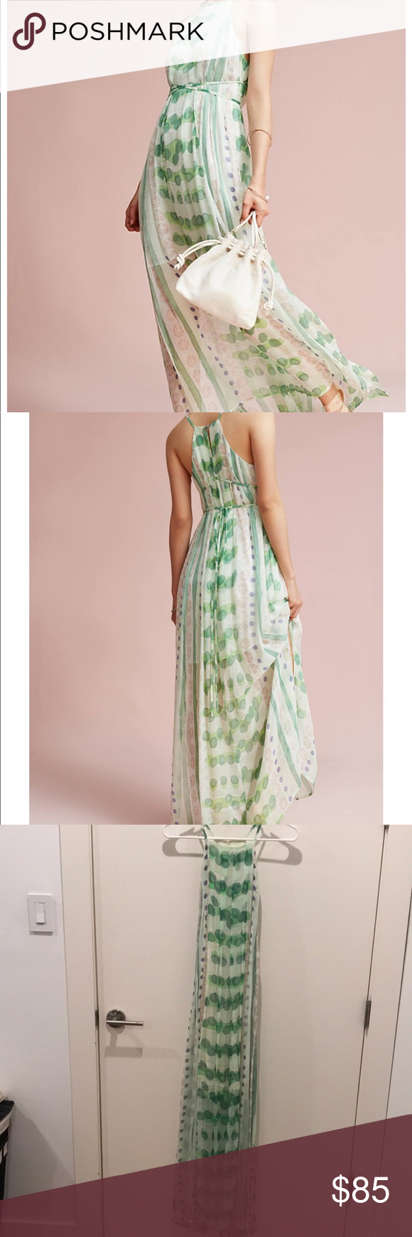 Nwt Anthropologie Vera Silk Maxi Dress Size S A Garden Inspired Pastel Print Ready True To New With Tags On Back