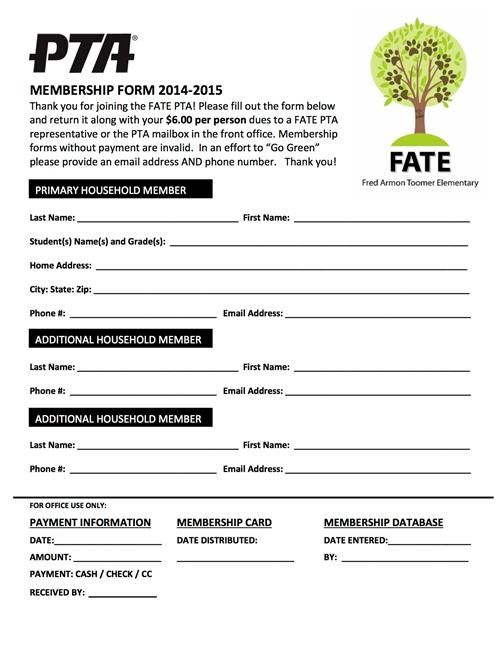 Pta Membership Form  Pta    Pta Kids Education And School