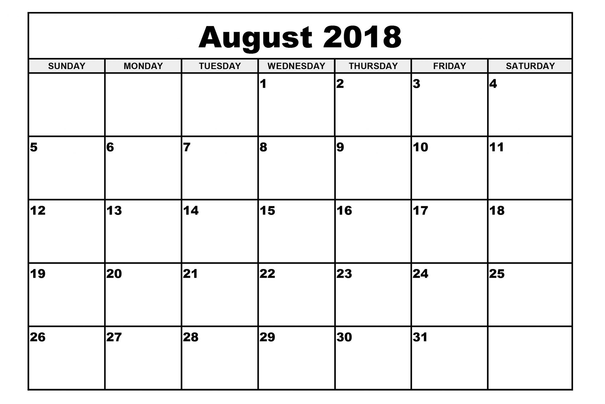 Blank August Calendar Templates Printable Download