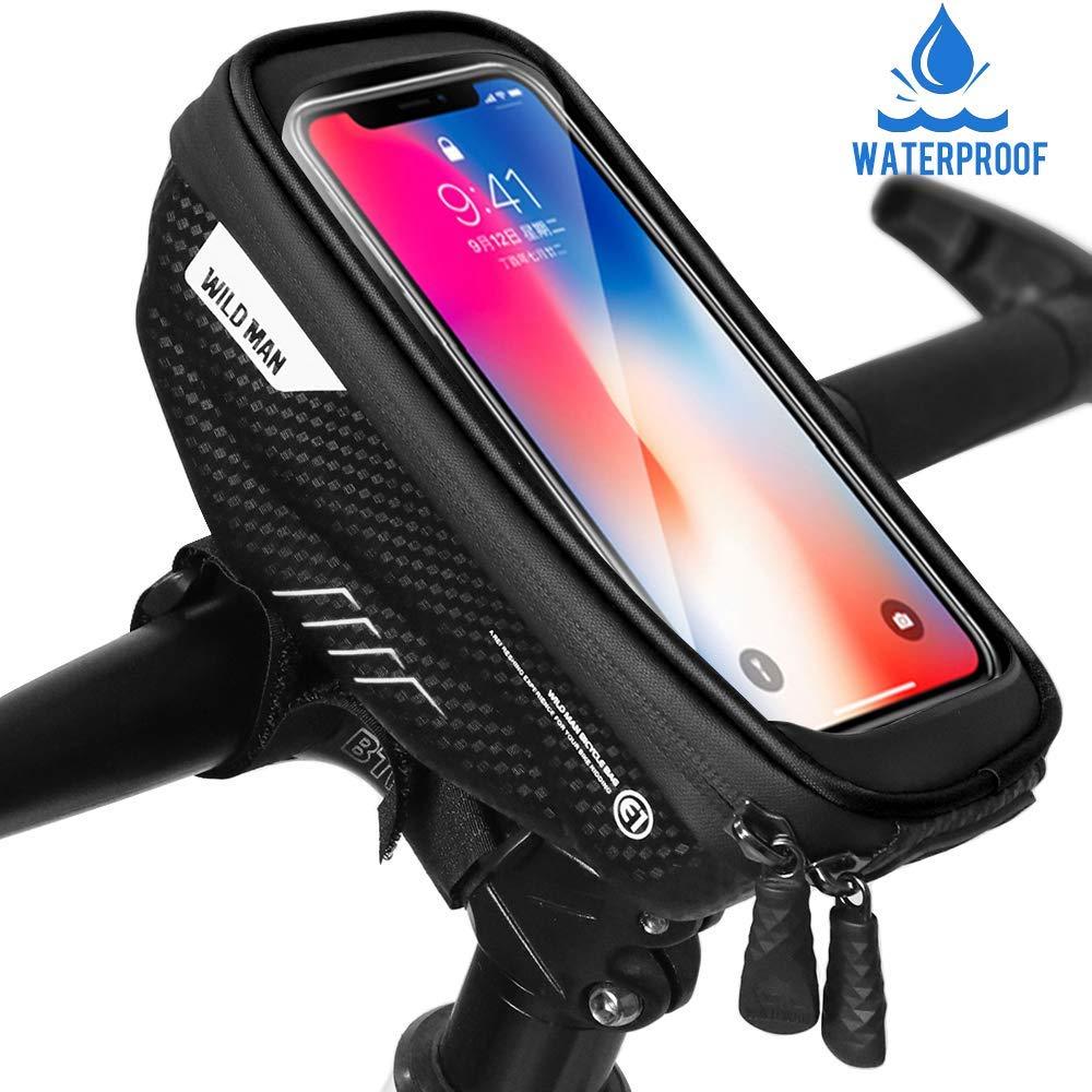 Waterproof MTB Mountain Bike Frame Front Bag Pannier Bicycle Mobile Phone Holder