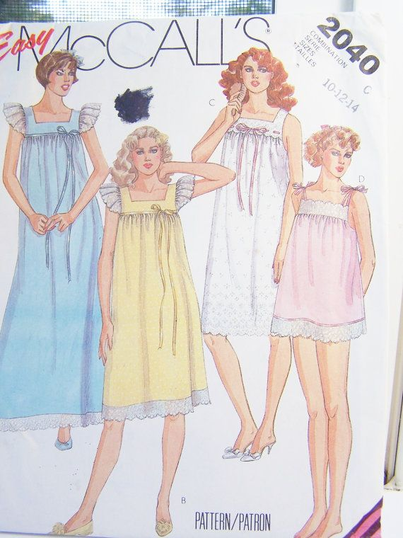 8f72ce6fa59ce Easy McCall's 2040 Misses' Pajama Pattern - Misses' Pyjamas, Long or ...