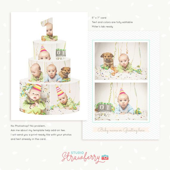 First Birthday card template Birthday Cake by StudioStrawberry - birthday cake card template