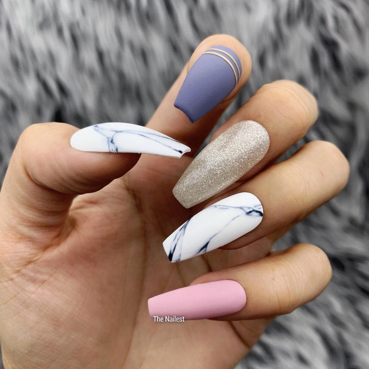 White Marble Mixed W Blue Pink Solid Colored Press On Nails Any Shape Fake Nails False Nails G Glue On Nails Coffin Nails Designs Acrylic Nails Coffin
