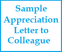 Appreciation Messages  Sample Appreciation Letter To Colleague