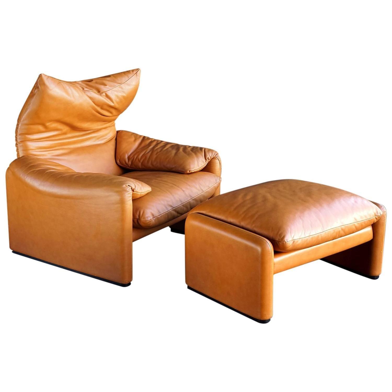 Maralunga Chair and Ottoman by Vico Magistretti