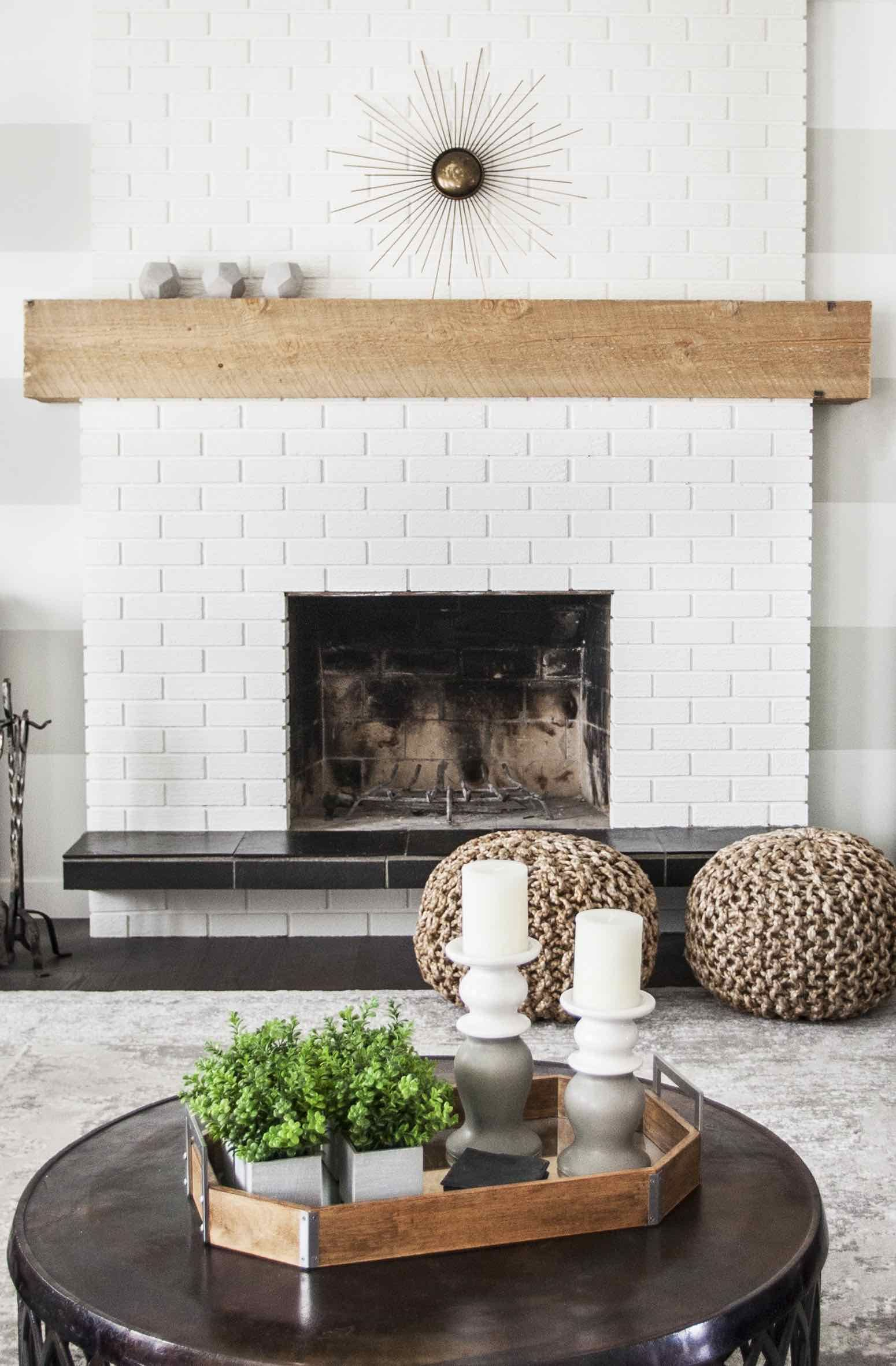 White Brick Fireplace Like Mantel Style Extended Past Fireplace