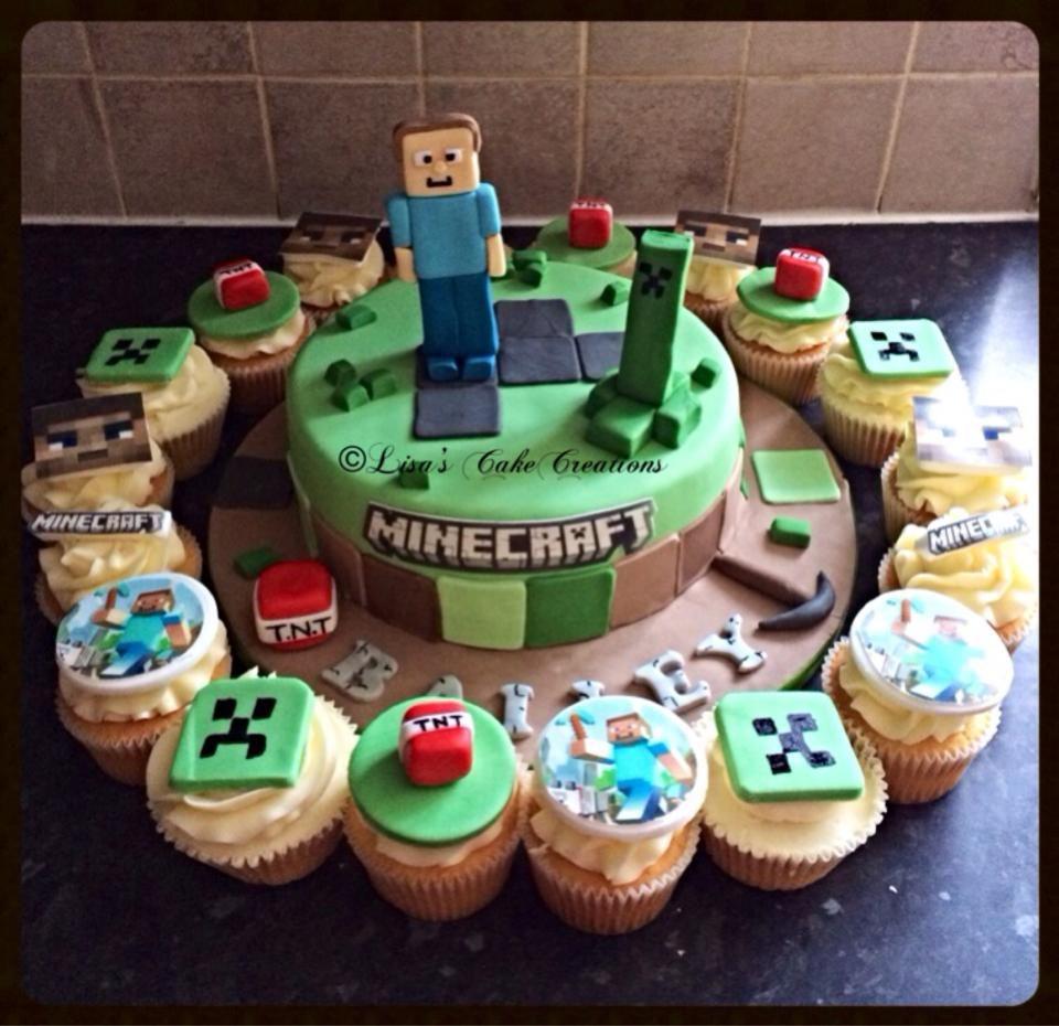 Minecraft cake and cupcakes - cake decorator bradford ...
