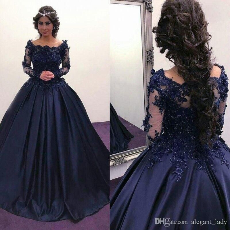 2018 Navy Blue Long Sleeve puffy Prom Dresses Bateau Lace Satin ...