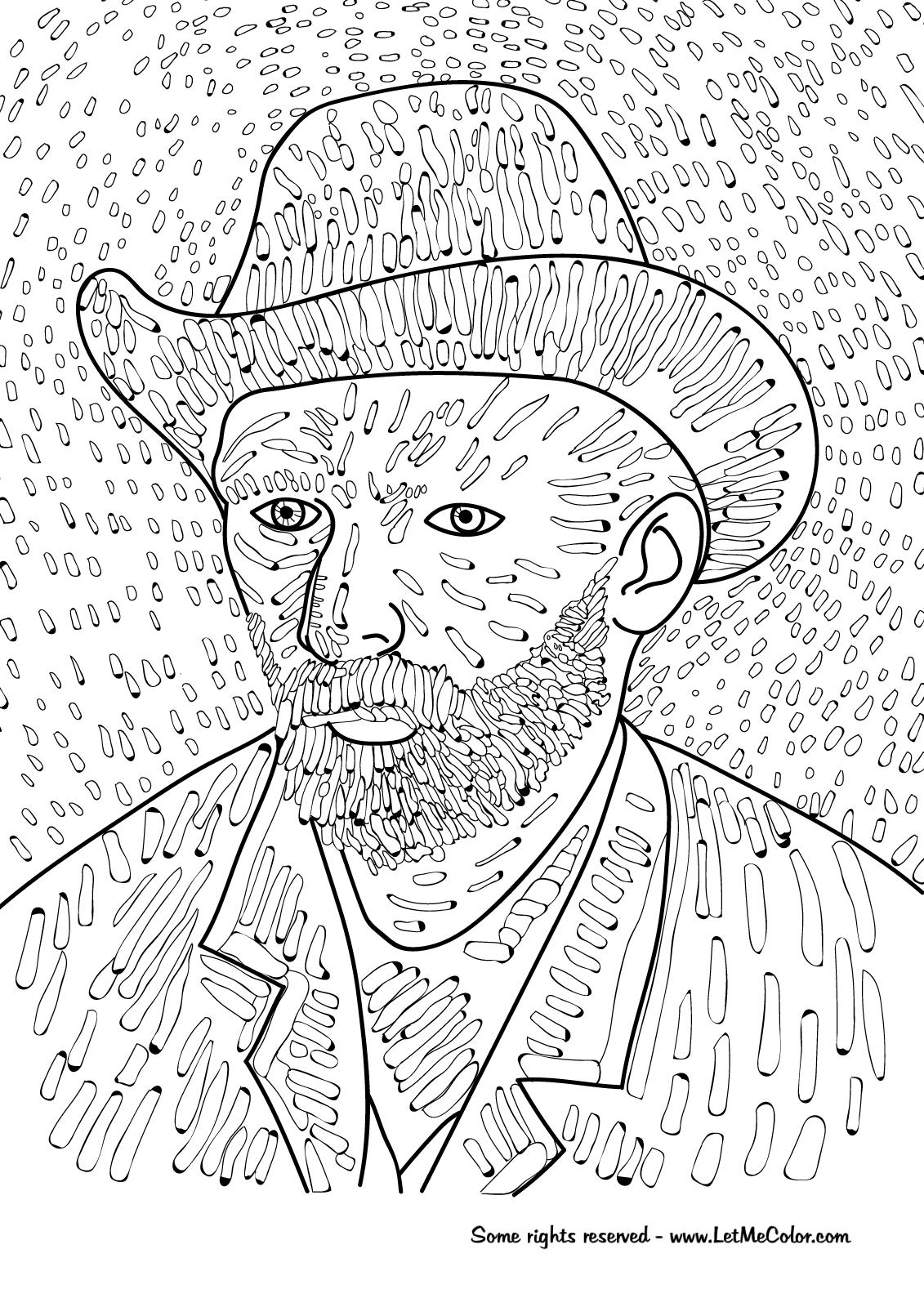 new coloring pages gogh free artes visuais desenhos