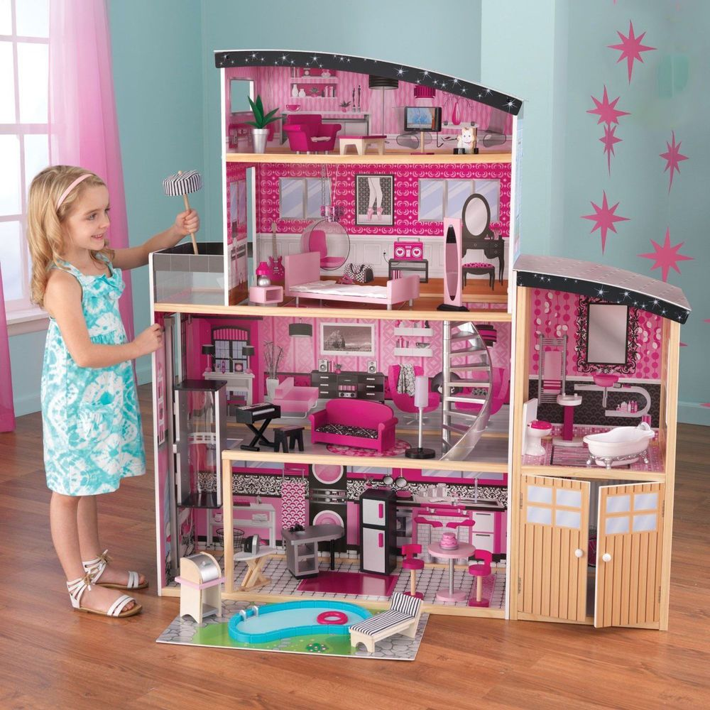 Doll House Kidkraft Dollhouse Barbie Furniture Mansion Wooden Play