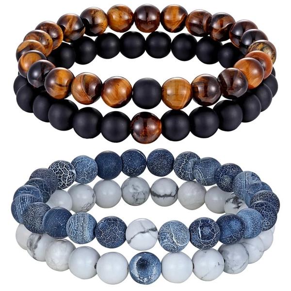 Natural Stone Beaded Charm Crystal Bangle Couple Elastic Bracelet Set Jewelry