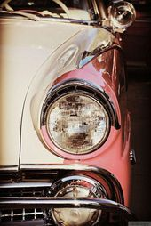 Pink & White Vintage Car – Rustic Wall Art – Classic Car Art Prints – Retro Prin…