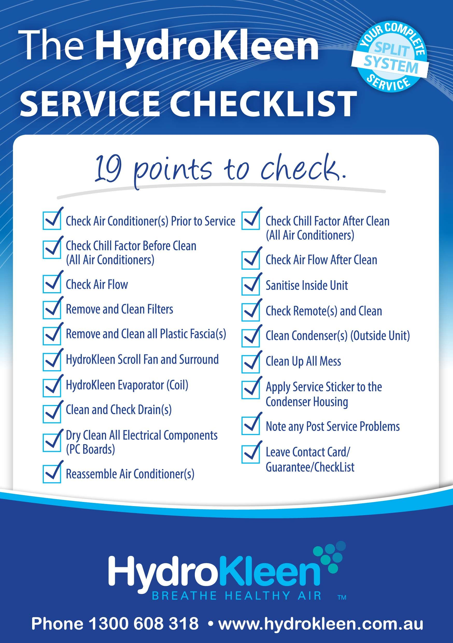 >Service Checklist Air conditioner cleaner, Clean air