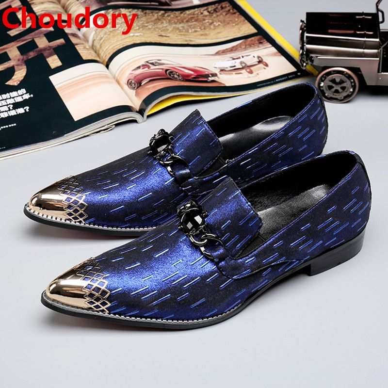 bfb7806864 Barato Sapato masculino social Choudory azul cravado mocassins homens sapato  de bico fino mens sapatos de couro italiano de aço escondido calcanhar  sapatos ...