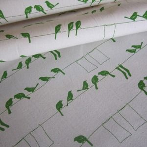 Fabric - Pippijoe laundry birds on organic cotton- pesto