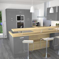 cuisine grise moderne façade stecia gris brillant | gris, volet ... - Plan De Cuisine Ouverte Sur Salle A Manger