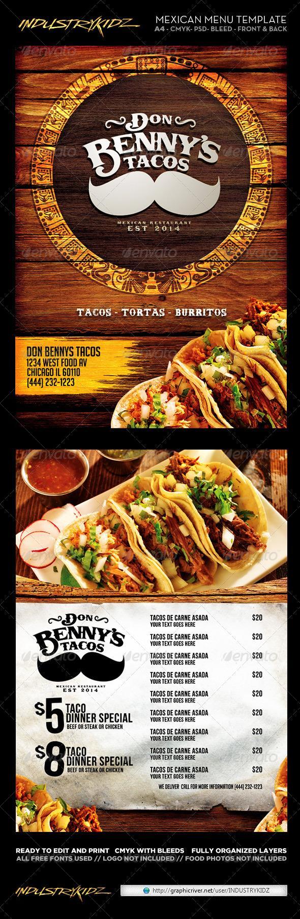 mexican menu template restaurant menu pinterest menu template