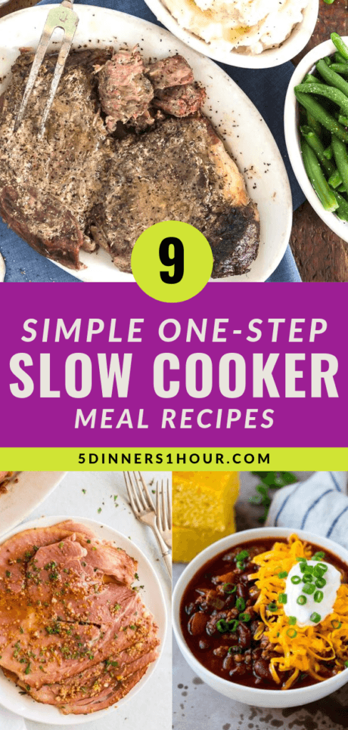 9 Simple One Step Slow Cooker Meal Ideas 5 Dinners In 1 Hour Slow Cooker Recipes Slow Cooker Meatloaf Slow Cooker Recipes Family