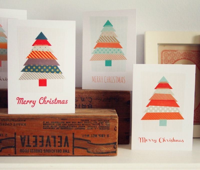 weihnachtskarte selber machen mit washi tape kunst und. Black Bedroom Furniture Sets. Home Design Ideas