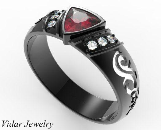 Black Gold Trillion Ruby Wedding Ring For A Men Unique Engagement