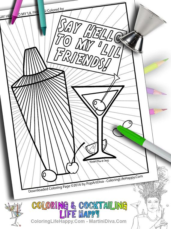 happy hour coloringfun adultcoloring page of a fun