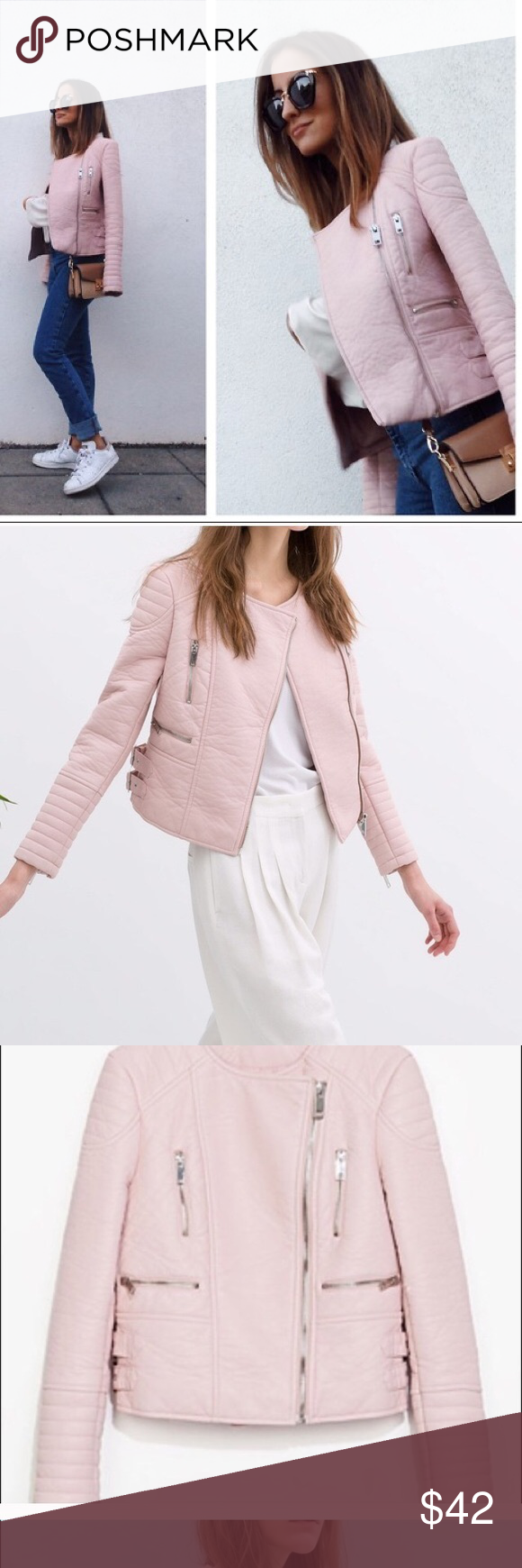 Zara Pink Leather Jacket Light pink faux leather jacket by