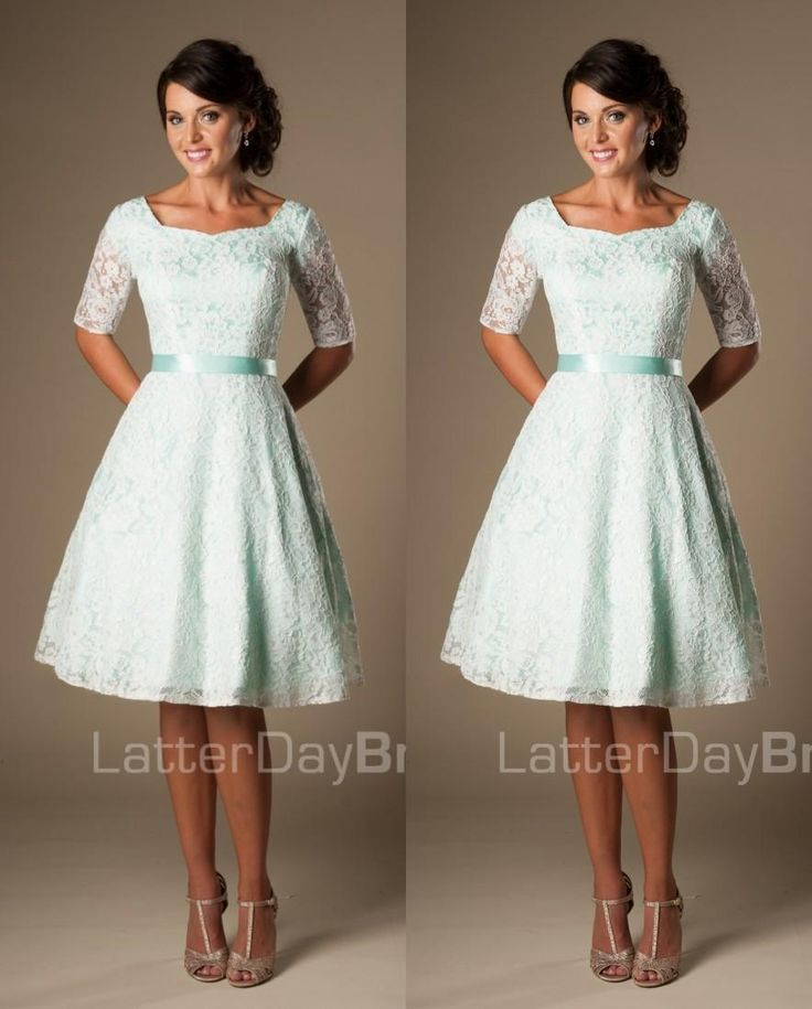 Vintage Mint Lace Knee Length Short Modest Bridesmaid Dresses With Half Sleeves Women Men