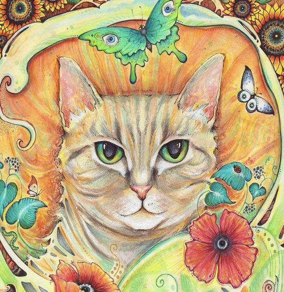 Art Nouveau Cat Art Print from the original painting by Liza Paizis ...
