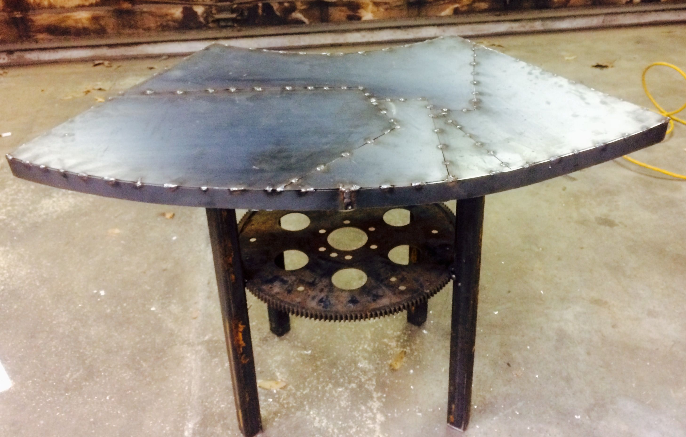 Custom Metal End Table Steel And Car Parts