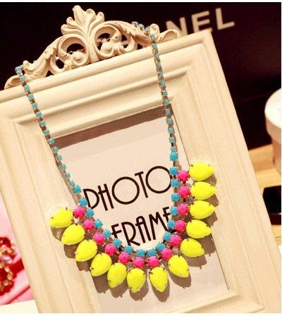 Latest Model Fashion Necklace Exotic Candy Color Gemstone Necklace Jewelry
