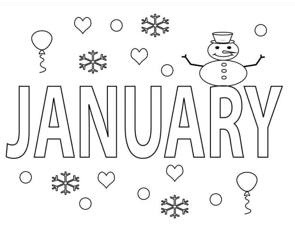 Free Printable January Coloring Pages With Images Preschool