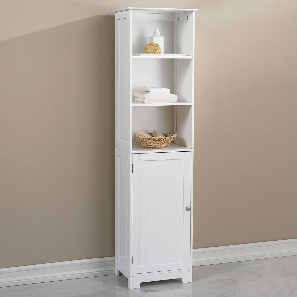 awesome white bathroom cabinet with half wooden door as