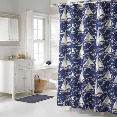 Nautica Monetery Sail Shower Curtain Nice Size Coverage Will