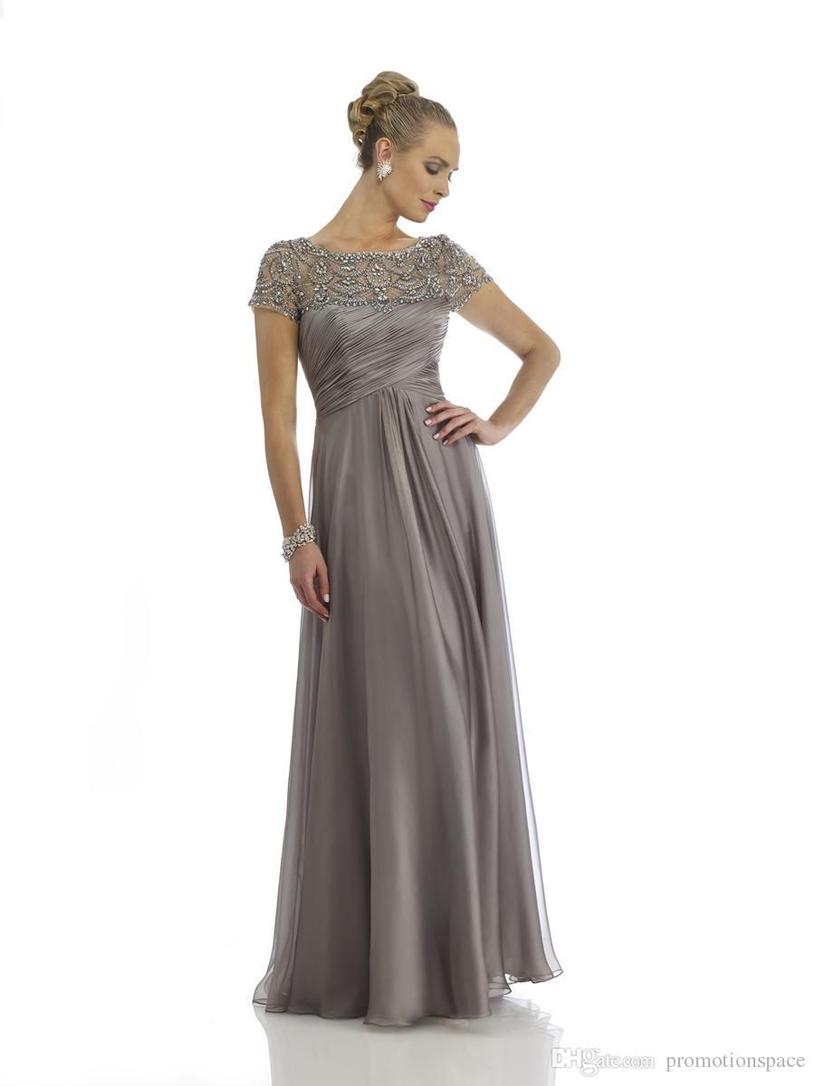 5374f61bf08 New Arrival 2015 Gray Mother of the Bride Dresses with Short Sleeves Floor  Length Chiffon Beading Crystal Formal Evening Dresses EA0040