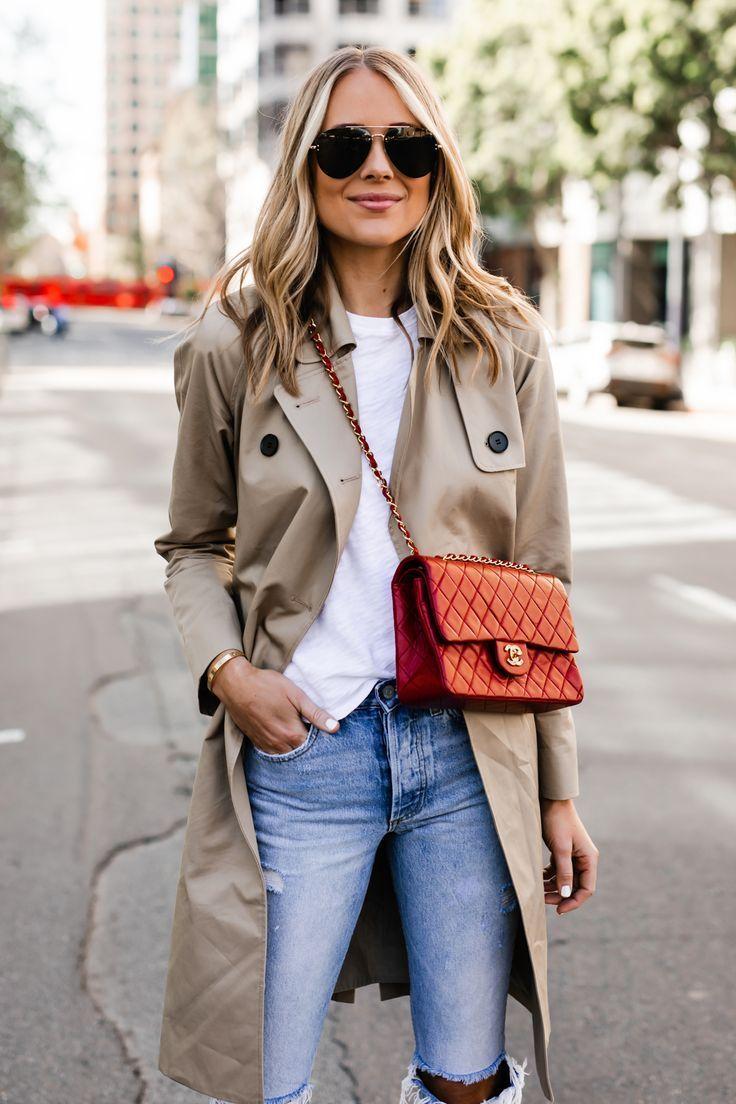 Fashion Jackson Wearing Everlane Trench Coat White Tshirt Red Chanel Handbag Ripped Jeans
