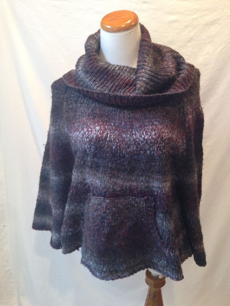 SPLENDID purple multi acrylic wool PONCHO sweater XS S #Splendid ...