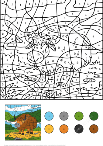 Yak Color By Number Coloring Page From Color By Number Worksheets Category Select F Free Coloring Pages Printable Coloring Pages Free Printable Coloring Pages