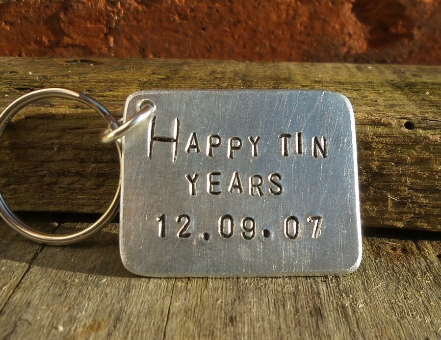 af80c90da145 £9.99 GBP - Happy Tin Years 10Th Anniversary Gifts Personalized Aluminium  Ten Years Keyring  ebay  Home   Garden